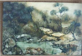 Landscape with Trees and Stream by Heady
