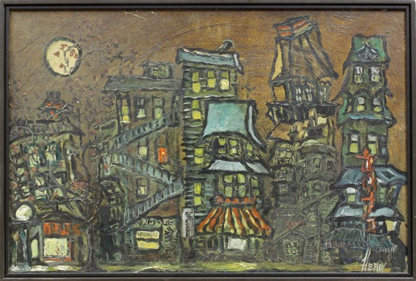 Moonlight on a San Francisco Street by Victor Heady Oil on Masonite 24 by 36 inches